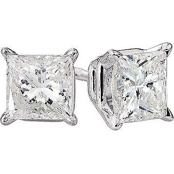 1ct Princess Cut natürlichen Diamanten Ohrstecker 14K White Gold