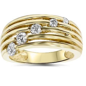 14 k or 1 / 2ct fantaisie Womens droit main bague en diamant