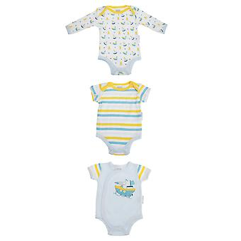 Nursery Time Baby Nautical 3 Bodyvests Set With Sail Boat Design