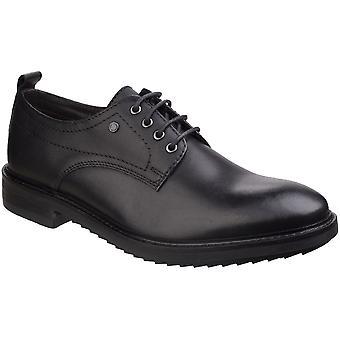 Basis Londen Mens Elba wasachtige Derby lederen Lace Up slimme Oxford schoenen