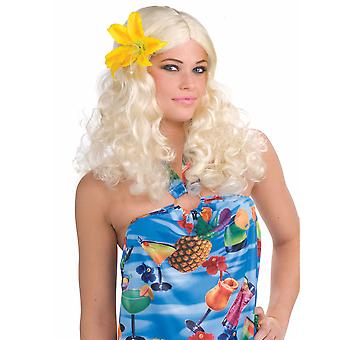 Honolulu Honey Bonde Hawaiian Hula Luau Curly Women Costume Wig