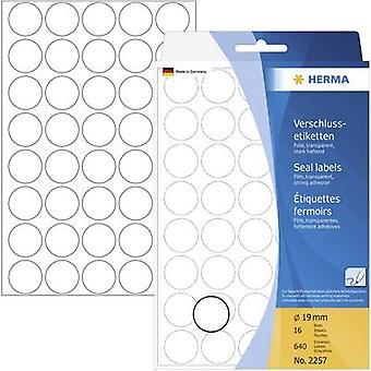 Herma 2257 etiquetas Ø 19 mm película transparente 640 PC etiquetas de sellado permanente