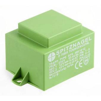Spitznagel SPK 0801212 PCB mount transformer 1 x 230 V 2 x 12 V AC 10 VA 417 mA