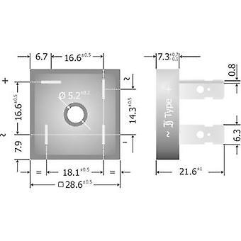 Diotec KBPC10/15/2502FP רידג ' דיודה מחשב 200 V 25 A-שלב 1