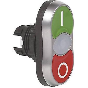 BACO L61QB21 dvojitá hlava tlačítka predné krúžok (PVC), pochrómované zelená, červená 1 ks (s)