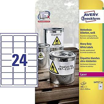 Avery-Zweckform L4773-20 Labels 63,5 x 33.9 mm Polyester film wit 480 PC('s) permanente All-purpose etiketten, weerbestendige etiketten