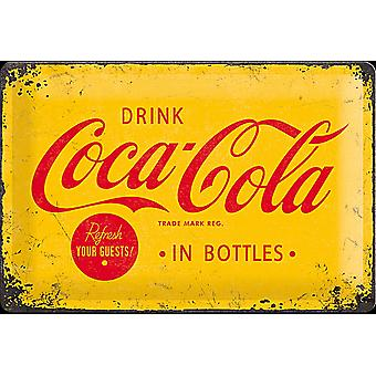 Coca Cola In Bottles (Yellow B'Ground) Embossed Steel Sign (300Mm X 200Mm)