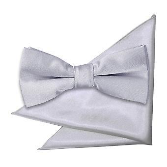 Silber Plain Satin Krawatte und Einstecktuch für jungen eingestellt