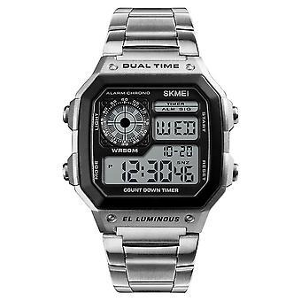 Skmei Smart Mens Digital Watch Clear Display Stainless Steel Strap Date Alarm Stopwatch DG1335
