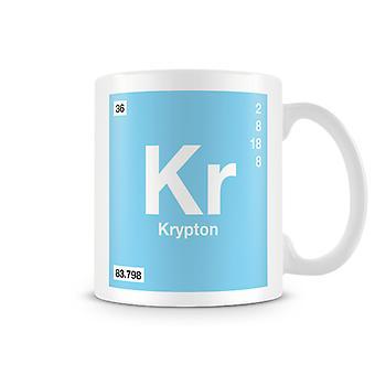 Scientific Printed Mug Featuring Element Symbol 036 Kr - Krypton