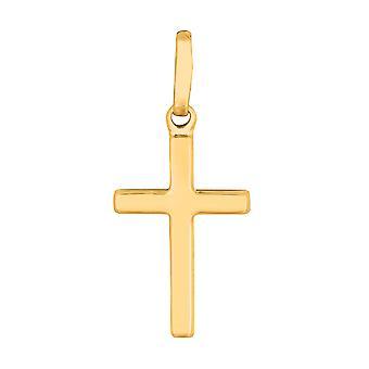 14k gul guld skinnende firkantet flad stil tværs vedhæng