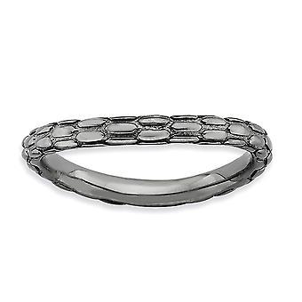 2.25 mm 925 כסף שטרלינג בדוגמת רותניום ביטויים מלוטשים לוחית שחור מלוטש טבעת גל תכשיטים מתנה