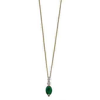 Elements Gold Emerald and Diamond Drop Pendant - Green/Gold