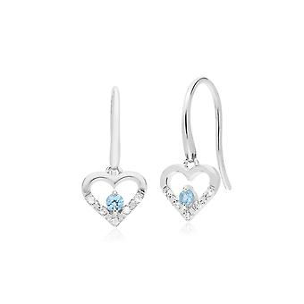 Classic Round Blue Topaz & Diamond Love Heart Shaped Drop Earrings in 9ct White Gold 162E0258069