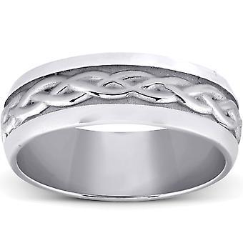 Χέρι πλεκτό γαμήλια μπάντα 14K λευκό χρυσό 7MM άνεση Fit βουρτσισμένο άνδρες δαχτυλίδι