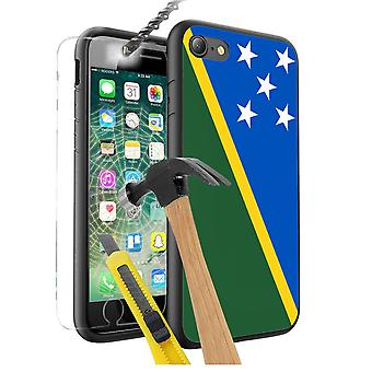 For Huawei Honor 9 - Solomon Islands Flag Design Printed Black Case Skin Cover with Tempered Glass - 0160 by i-Tronixs