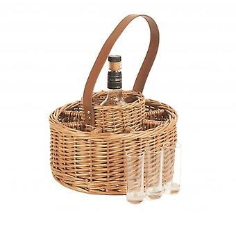 Rund Wicker Whisky fest drycker Carrier