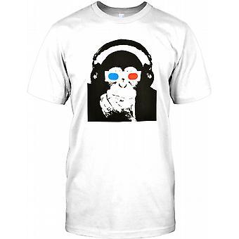 Małpa z okularów 3d i słuchawki - fajne koszulki męskie
