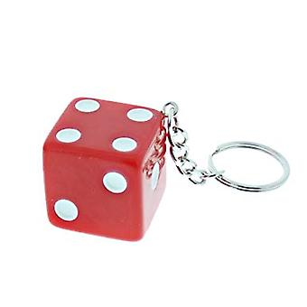 Key ring/Key chain with dice (red)