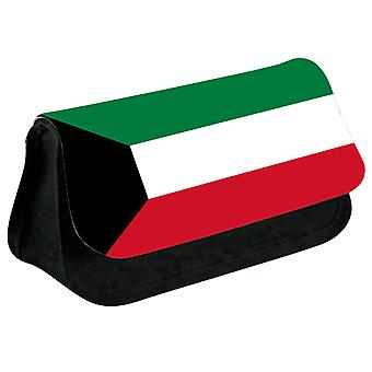 Kuwait Flag Printed Design Pencil Case for Stationary/Cosmetic - 0091 (Black) by i-Tronixs