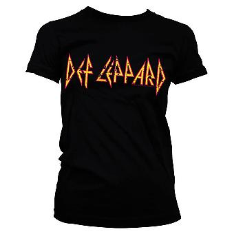Women's Def Leppard Distressed Logo Black Fitted T-Shirt