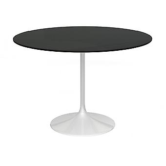 Gillmore Pedestal Large Dining Table Black Glass And White
