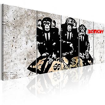 Canvas Print - Banksy: Three Monkeys