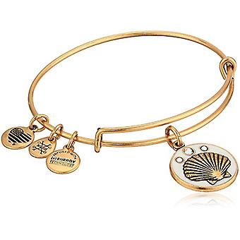 Alex and Ani Color Infusion - Shell Charm Bangle Bracelet - Rafaelian Gold - Expandable - A18EBCISRG