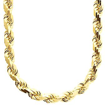 Sterling 925 silver cord chain - HOLLOW ROPE 8mm gold