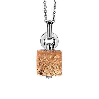 PENDANT WITH CHAIN 925 SILVER GLASS ROSE GOLD SHEET