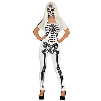 Womens spandex skelet meisje Halloween fancy dress kostuum