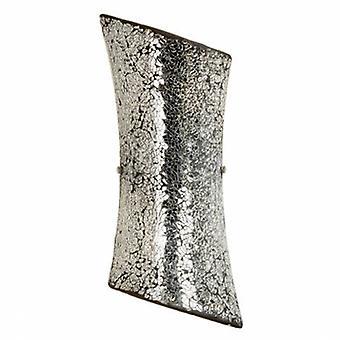 2 Light Indoor Wall Light Satin Nickel With Mosaic Mirror Glass