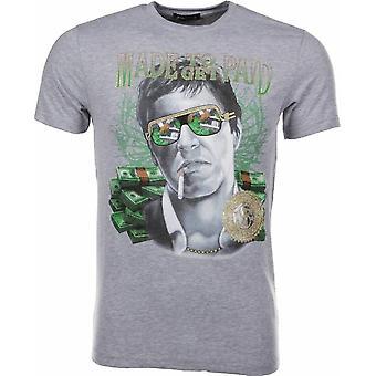 Camiseta hecha para recibir scarface-gris pagado