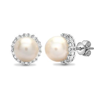 Jewelco London Ladies Solid 18ct White Gold 4 Claw Set G SI1 0.63ct Diamond and Round Pearl Full Moon Halo Stud Earrings