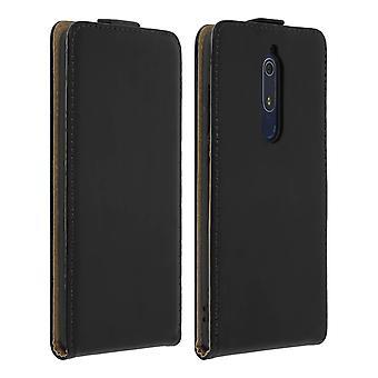 Vertical flip case, leather magnetic case for Nokia 5.1 - Black