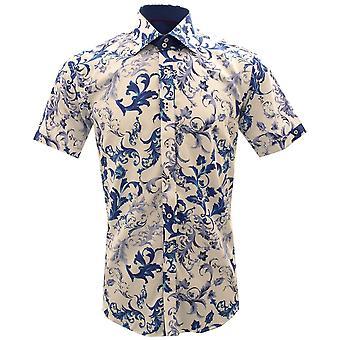 Claudio Lugli Floral Waves Print Short Sleeve Mens Shirt