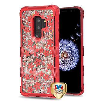 MYBAT röd elektroplätering/hibiskus blomma/silver flödande gnistrar TUFF Quicksand glitter lite fallet för Galaxy S9 plus