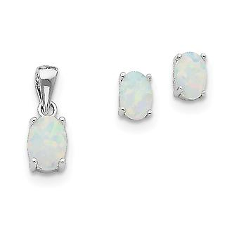 925 Sterling Silver Polished Post Earrings Rhodium plated Simulated Opal Pendant Necklace and Earrings Set Jewelry Gifts
