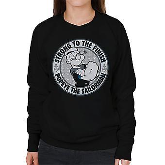 Popeye The Sailorman Strong To The Finish Light Text Women's Sweatshirt
