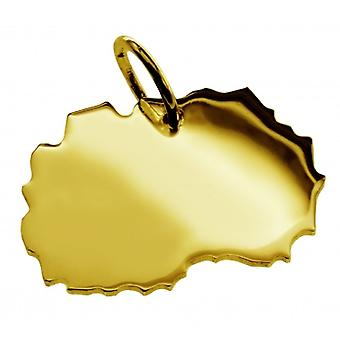Pendant map chain pendant in gold yellow-gold in the form of MAKEDONIA