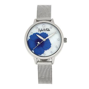 Sophie and Freda Raleigh Mother-Of-Pearl Bracelet Watch w/Swarovski Crystals - Blue