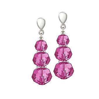 Eternal Collection Trinity Fuchsia Pink Crystal Silver Tone Drop Screw Back Clip On Earrings