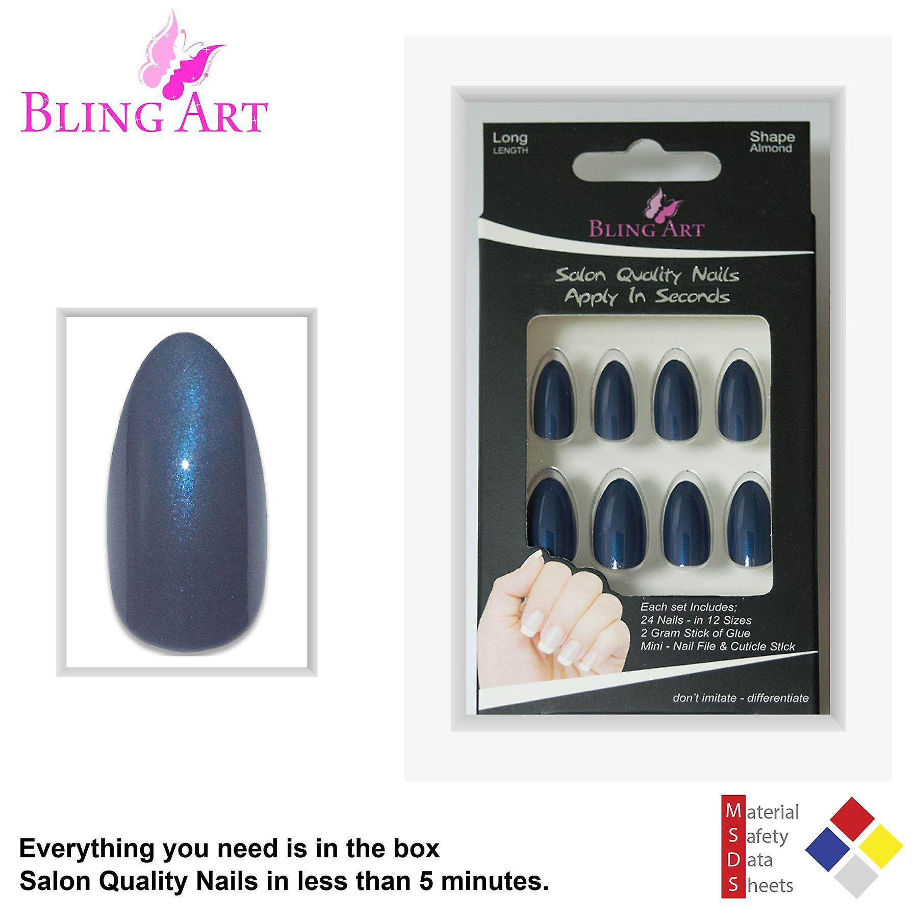 False nails by bling art grey glitter almond stiletto 24 fake long acrylic tips