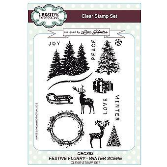 Creatieve uitingen Lisa Horton feestelijke Flurry A5 duidelijk postzegels - CEC863 winters tafereel