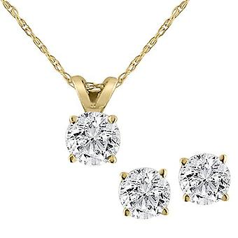 Diamond Solitaire Necklace & Studs Earrings Set 3/4 Carat 14K Yellow Gold