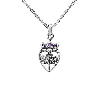 "Scottish Thistle Flower Of Scotland Love Heart Shaped Necklace Pendant - Amethyst Colour Stone - Includes A 20"" Silver Chain"