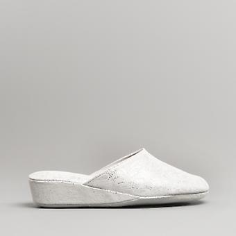 Chaleur Gabriella Ladies Textile Mule Slippers Silver
