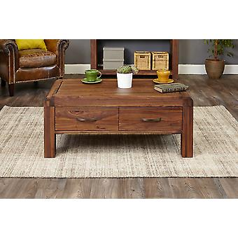 Shiro Walnut Four Drawer Coffee Table Brown - Baumhaus