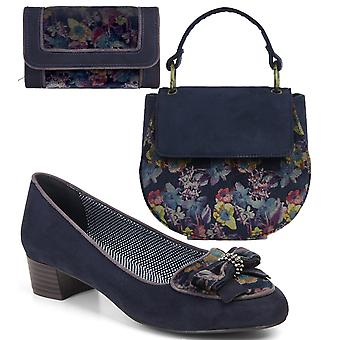 Ruby Shoo Victoria Black Loafer Pumps & Matching Acapulco Bag & Geneva Purse
