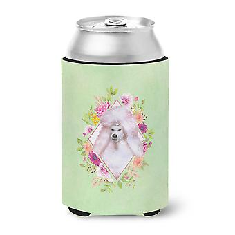 Standard White Poodle Green Flowers Can or Bottle Hugger